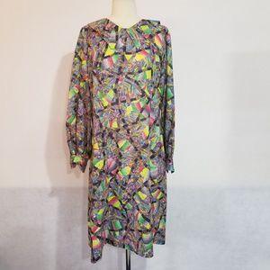 1970s Homemade Multi-Color Poly/Nylon Dress